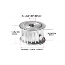 15T 15 Teeth Timing Pulley for HTD5M 15mm