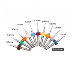 0.1-1.0mm 10pcs PCB Mini Twist Drill Bit Set (3.175mm Shank)