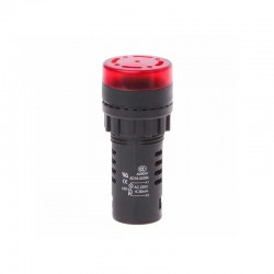 Panel Mount Signal Lamp With Buzzer 220V 22mm Red