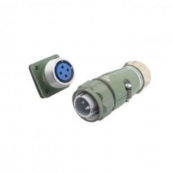 4 Pin 25mm M25 Green Heavy Duty Metal Aviation Plug Socket Pair