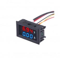Digital Voltmeter Ammeter DC 100V 10A Volt Amp Current Meter Blue + Red Dual LED Display
