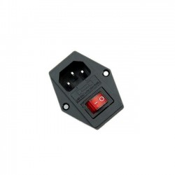 AC 250V 10A Panel Mount 3 Terminal Power Socket with Fuse Holder and Neon Switch