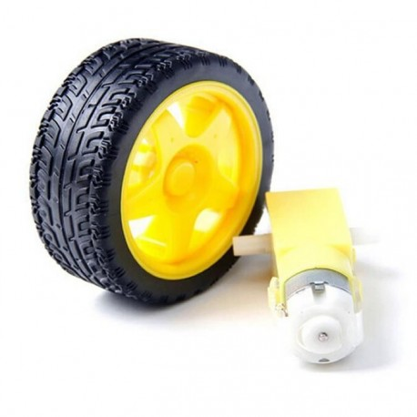 Robot Plastic Tire Wheel (Yellow) and with DC Gear Motor